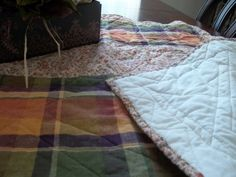 70s Circa Mini Quilt Quilt Calico and Plaid by SuzyQsVintageShop, $2.25