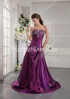 Charming Sweetheart Neckline A-line Full Length #Purple Prom Dresses With Embroidery  #DesignerDress #CheapDress  #CocktailDress  #Fashion  #PromDress  #BatMitzvahDresses #EveningDresses #MarineBallDresses #MaxiDresses