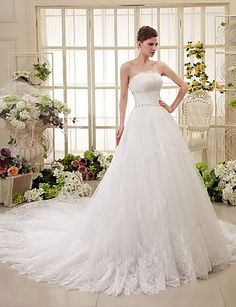 A-line Chapel Train Wedding Dress -Strapless Lace – AUD $ 428.99