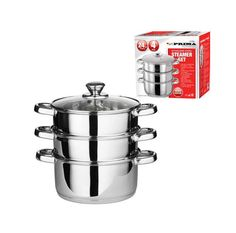 Steamer Cooker Set Stainless Steel 3 Tier Pot Cook Food 24cm
