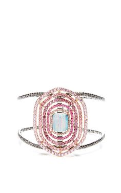 Signature Cuff With Opal Dublet, Round Brilliant Pink Sapphires And Black Diamonds by Shawn Ames for Preorder on Moda Operandi