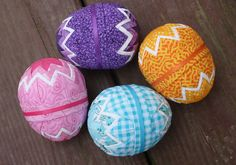 4 Quilted Easter egg ornaments/ Basket or bowl by ornamentsbyTammy, $22.00
