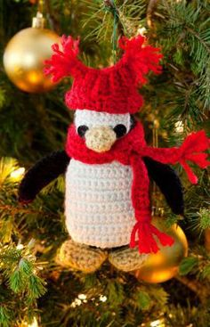 Little Penguin Ornament Free Crochet Pattern from Red Heart Yarns