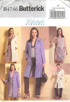 Unlined coat has princess seams and stitched hems. A: contrast collar and front facing. Above mid-knee skirt and straight pants have contour waist and back zipper closure. Our PRE-OWNED patterns are a
