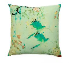"""Kathe Fraga Art: The KF Home Pillow Collection, based on my Chinoiserie inspired paintings, 6 different original designs, available in silk or linen, 20x20 with down/feather inserts. Here's """"Chez Nous"""". www.kathefraga.com"""