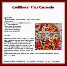 Cauliflower Pizza Casserole. Lean and Green. www.jonesintoloseweight.com