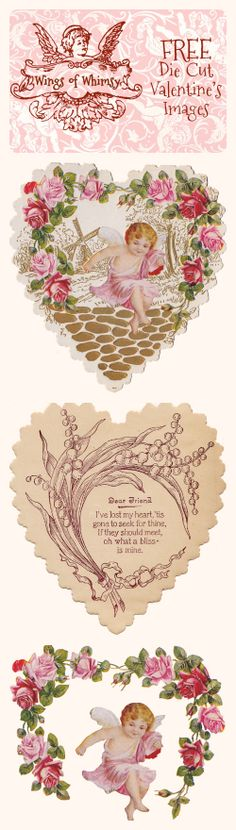 Wings of Whimsy: Vintage Die Cut Valentine's Images - free for personal use