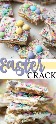 Easter Crack: a fun Easter themed saltine toffee recipe! This Easter crack is a festive Saltine Toffee. An easy-to-make recipe using simple pantry ingredients like white chocolate, sprinkles, and Easter candies. Easter Deserts, Easy Easter Desserts, Easter Snacks, Kid Desserts, Easter Candy, Easter Treats, Easter Recipes, Holiday Desserts, Easter Food