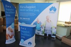 We recently produced a job for Australian Aged Care Supplies – a number of banners and signage for an upcoming exhibition. We're really happy with what we t Tradeshow Banner Design, Pull Up Banner Design, Aged Care, Healthier You, Trade Show, Banners, Signage, Conference, Backdrops