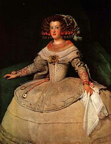 Portrait of the Infanta Maria Theresa of Spain, by Diego Velasquez. This Spanish painter was the leading artist in the court of King Philip IV and this portrait is of his daughter. Working during the Baroque period, his most famous painting was Las Meninas painted in 1656, 4 yrs before he died. Velasquez's work inspired the impressionists, realists, surrealists and even the Cubists of the 19th and 20th century.