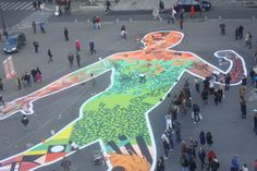 Giant collage by several street artists, organized by Riofluo agency, Place du Palais Royal, Paris, october 2013
