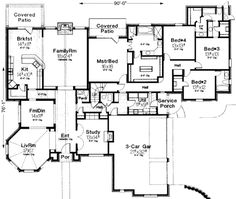 One story plan with four beds. Stairs to bonus, could make open to family room? Service porch with mud/utility. Sun room in front?