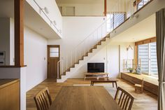 Modern home located in Aichi Prefecture Niwa-gun, Fuso-machi. Muji Home, Japanese Interior Design, Colourful Living Room, Built In Seating, Japanese House, New Home Designs, Staircase Design, Simple House, Home Living Room