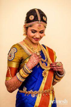 The blue just stands out ! Indian Bridal Makeup, Indian Bridal Fashion, Indian Bridal Wear, South Indian Weddings, South Indian Bride, Beautiful Girl Image, Beautiful Bride, Hindu Bride, Sari Blouse Designs