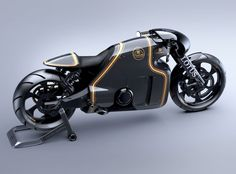 LOTUS Motorcycles C-01 Prototype, designed by Daniel Simon | 2-cylinder 4-stroke engine, 75° V-style - 1,195 cm³ - 200 HP - 6-gear jaw-type shift transmission.
