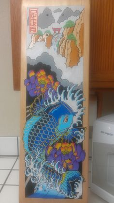 Koi dragon gate skateboard. Japanese tattoo.  POSCA paint pens.  Hand drawn by Eric Tolentino. OKUMURA 2014  eric.b.tolentino@gmail.com