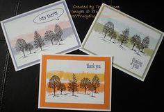 Cards designed by Tracy Elsom using the painter's tape technique and Lovely as a Tree stamp set from Stampin' Up! http://tracyelsom.stampinup.net