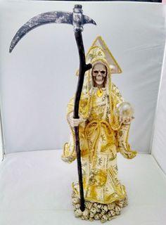 Nuevo De 16 Pulgadas dinero Santa Muerte Estatua De La Santisima Santa Muerte Grim Reaper in Objetos de colección, Religión y espiritualidad, Wicca y paganismo   eBay