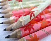mini pencils made with japanese paper - set of 10 - patchwork sakura. $9.00, via Etsy.