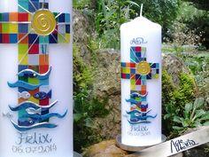 """ORIGINAL Mosaik-Taufkerze """"Alle deine Farben""""SONNE von arte-maria auf DaWanda.com"""