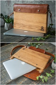 cool stuff for men gadgets Holz Macbook Tasche Macbook Holz Macbook pro Holz Macbook Macbook Air Bag, Laptop Bag, Coque Macbook, Crea Cuir, Wooden Bag, Selling Handmade Items, Mac Book, Leather Projects, Leather Accessories