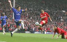 Liverpool beat Chelsea in a FA Cup semi-final at Old Trafford in 2006 and Luis Garcia fires home the winner. Liverpool Fc Wallpaper, Old Trafford, Semi Final, Fa Cup, Chelsea, Football, In This Moment, Sports, Red