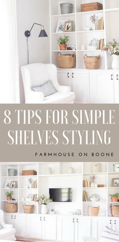 How to style built in shelves how to style built ins simple and neutral builtins bookshelves decoratingideas farmhousestyle farmhousedecor farmhouseonboone farmhouse livingroom livingroomdecor livingroomideas Built In Shelves Living Room, Bookshelves Built In, Bookcases, Bedroom Shelves, Book Shelves, Bookshelf Plans, Open Shelves, Decorating Bookshelves, Bookshelf Styling