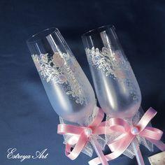Hand painted wedding flutes champagne glasses by EstreyaArtShop
