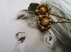 Decorative Gold 50's Retro Holiday Bobby Pins by WillowBloom, $24.50