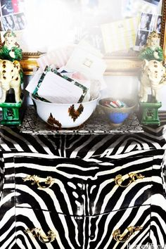 zebra striped bombé chest