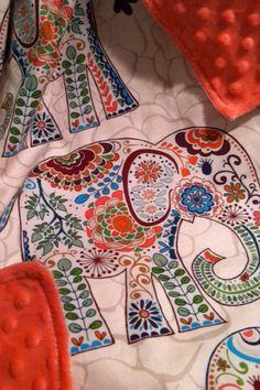 Elephant Baby Blanket Stroller Size, Coral Minky, Jaipur Elephant blanket, boho baby blanket, boho stroller blanket, Karavan elephant
