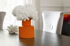 Add a touch of colour with the Small Bubble Vase in Orange from Kelly Hoppen London for With its funnel neck and embossed design, it is reminiscent of the Art Deco period. Kelly Hoppen, Unique Home Accessories, Art Deco Period, Autumn Inspiration, A Table, Creative, Funnel Neck, Burnt Orange, Orange