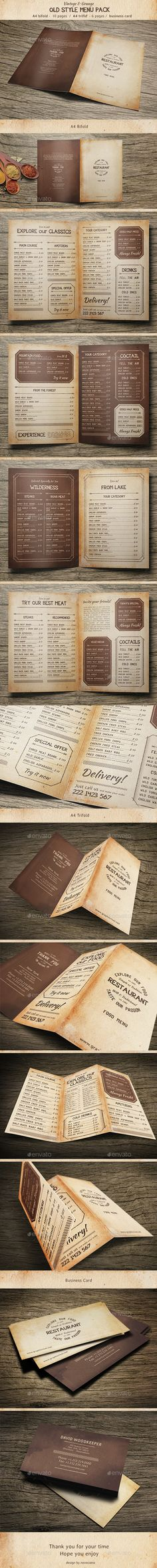 Old Style Menu Pack Template PSD. Download here: http://graphicriver.net/item/old-style-menu-pack/15419334?ref=ksioks