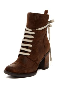 """Minnie Lace-Up Boot in brown by Miz Mooz $150 - ($75) ($73) $60 @HauteLook. - Round stitch cap toe - Lace-up vamp - Topstitched detail - Faux fur lining - Side zip closure - Back pull-tab - Stacked chunky heel - Approx. 5.25"""" shaft height, 11"""" opening circumference - Approx. 3"""" heel - Leather upper, leather and faux fur lining, manmade sole"""