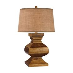 Carved Wood Post Lamp Dark Russian Oak