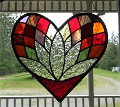 Lotus Flower Stained Glass Suncatcher, Heart Shaped, Silver finish, Window Hanging, Red, Pinks & Oranges, Meditation, Glass Lotus, Valentine