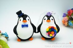 Funny Penguin Wedding Cake Toppers Rainbow Theme-Personalised Bride And Groom Wedding Cake Toppers With Rainbow Flowers