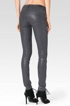 Paige Luxe Coated Smoke Grey Jeans ($219) Paige has taken silk coating to the next level with its new Luxe Coating! The innovative treatment has an ultra chic, super gloss pigment that offers a liquid leather look and a silhouette you can live in. If you're looking for a sleek, comfortable and truly effortless street style, this is your go-to in premium brand denim!