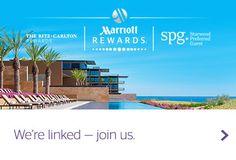 Pool and ocean view, Marriott Rewards, SPG and Ritz-Carlton Rewards logos