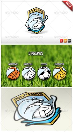 Dolphins #GraphicRiver ITEM DESCRIPTION Professional, modern, unique, handcrafted logo perfect for any sport team or organization. 100% editable, 100% vector, 5 different versions/variants included. Package content: Logo Template in layered .EPS and .AI CS4 Illustrator file (RGB and CMYK color support) 5 different variants in 5 different .PNG files with no-background ready to use (sports available: volleyball, soccer, waterpolo, baseball, basketball); Text used in the logo is based on PEPSI…