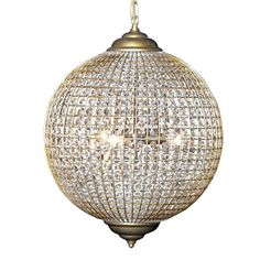 Large Gl And Gold Globe Chandelier
