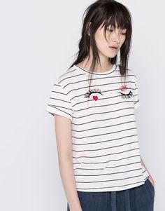 Pull&Bear - femme - t-shirts - t-shirt imprimé cils - blanc - 05244311-V2016