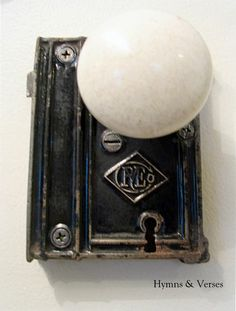 Old doorknob turned vintage towel holder.