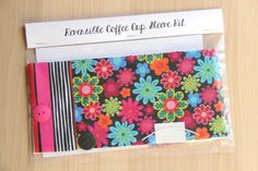 DIY Coffee Cup Sleeve Sewing Kit - Bright Flowers and Stripes - Ready to Ship by CraftyStaci