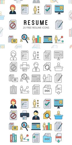 Resume Vector Free Icon Set - Resume Vector Free Icon Set is a thematic set consisting of 20 high-quality thematic icons - Resume Icons, Office Icon, Cute Easy Drawings, Inspirational Posters, Inspirational Thoughts, Notes Design, Travel Icon, Social Icons, Icon Design