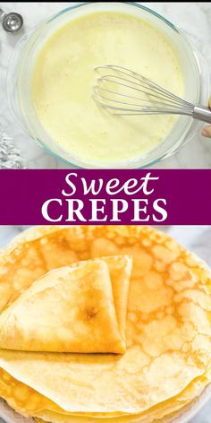 A basic recipe for French crepes. Don't you know how to make simple crepes? This easy recipe is a must know to make the best homemade crepes. You can eat them for breakfast or dessert and choose between a sweet or savory filling. Easy Crepe Recipe, Crepe Recipes, Basic Recipe, Sweet Crepes Recipe, Homemade Crepes, Clean Eating Snacks, Food Videos, Breakfast Recipes, Skinny Recipes