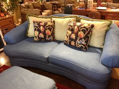 Denim sofa (grown up with accent pillows) by newleafgalleries, via Flickr