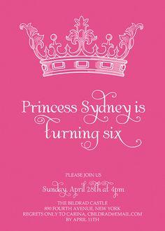 Invitation Idea for Princess party