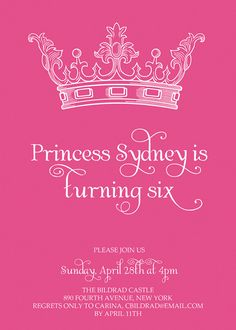 Invitation Idea for Princess party