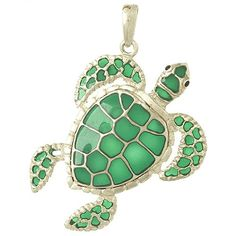 Amazon.com: 925 Solid Sterling Silver Enamel Necklace Charm Pendant, Swimming Sea Turtle With Gre: Million Charms: Jewelry